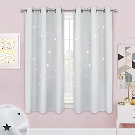 LLWERSJ Eyelet Blackout Curtains for Boys Girls Space astronaut Window Curtains Thermal Insulated Printed Polyester Microfibre Childrens Nursery living room Bedroom 75x166cm x 2 pcs