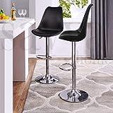 SAVYA HOME® Curvy Kitchen Stool/BAR Stool (Qty-2) (Standard, Black)
