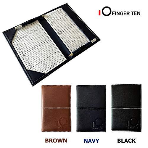 FINGER TEN - Soporte para Tarjetas de Golf (Piel, 2 láminas de puntuación y 2 lápices), Color Negro, marrón y Azul Marino