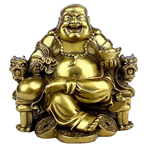 Brass Laughing Buddha Sitting on Dragon Chair Statue Sculpture Wealth Lucky Chinese Handicrafts Home Decor Gift
