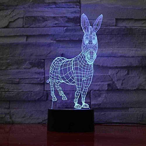 L'asino sveglio 3D ha condotto la luce notturna ha condotto la luce principale USB USB dell'atmosfera della lampada da tavolo dell'ologramma della luce variopinta acrilica