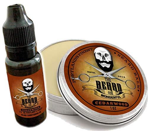 Baume à l'huile de Cedarwood Beard et ensemble de toilettage. Huile de barbe de 15 ml + Revitalisant de baume de barbe de 30 ml, Combo raffermissant e