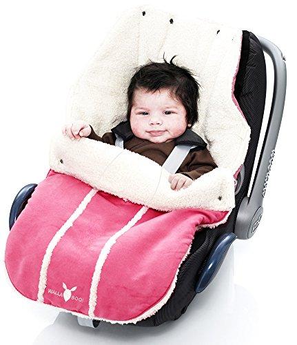 Wallaboo Fußsack, Universal für Babyschale, Autositz, z.B. für Maxi-Cosi, Römer, für Kinderwagen, Buggy oder Babybett, Farbe: Rosa