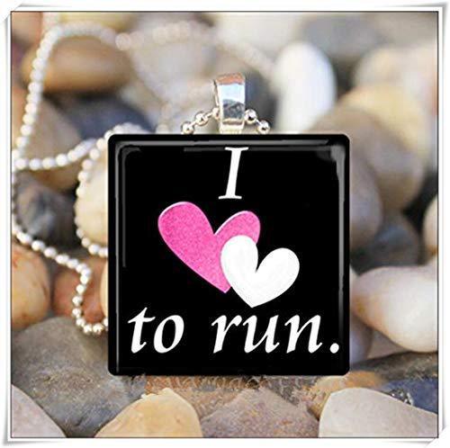 Sunshine Love to Run - Collar con colgante de azulejos de cristal, diseño de atleta