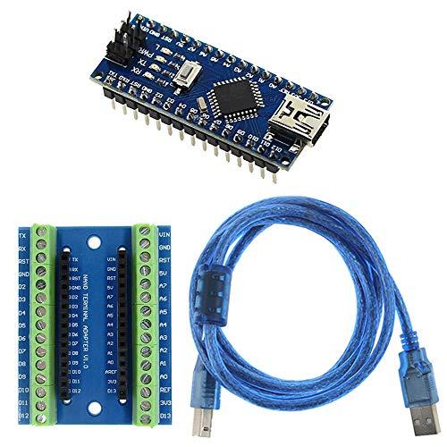 KeeYees Placa soldada ATmega328P CH340G Chip 5V 16MHz con Placa de Expansión Protector Adaptador de Terminal y Cable USB de 1.5M para Arduino Nano