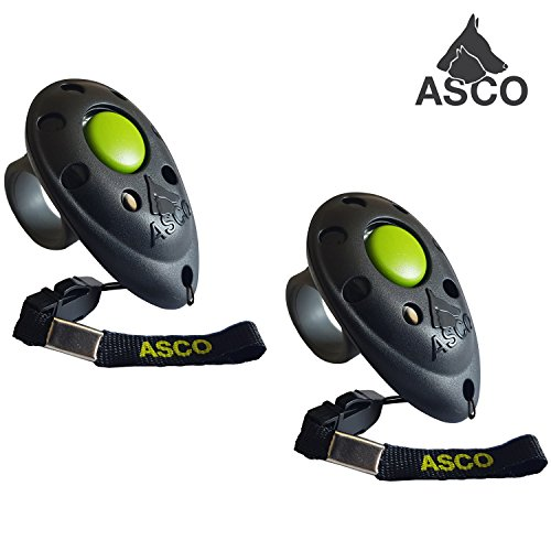ASCO 2X Premium Clicker, Finger Clicker für Clickertraining, Hunde Katzen Pferde Profi Clicker, Hundetraining Klicker schwarz AC01F, 2 Stück
