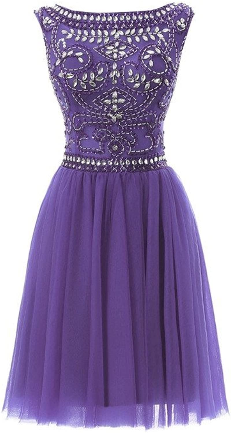 YSFS Women's 2016 Scoop Crystal Tulle Short Homecoming Dresses Cocktail Party Gowns