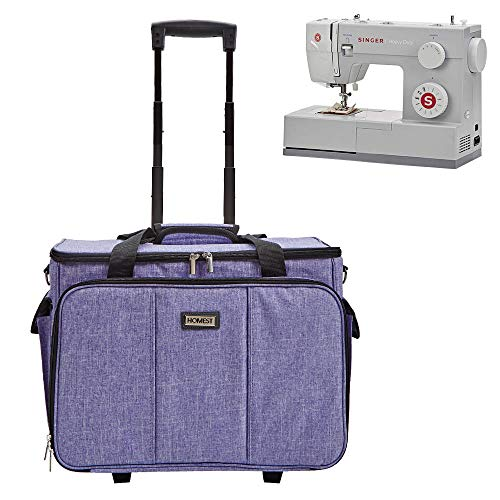 HOMEST Deluxe Sewing Machine Case on Wheels, Rolling Trolley Tote with Shoulder Strap and Strong Carry Handles, Compatible with Singer & Brother Machine, Purple (Patent Design)