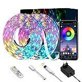 Luces de Tira LED, Ltteny tiras de LED 5050 SMD, tira de cambio de color RGB de brillo ajustable con control remoto y controlador para el hogar, bar, TV