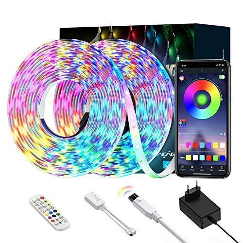 LED Strip Lichtband, Ltteny 5050 SMD LED stripes 10m, Lichterkette, Band, Streifen, LED Leiste, verstellbare Helligkeiten RGB Farbwechsel Strip mit mit 24 Tasten Fernbedienung und Controller.