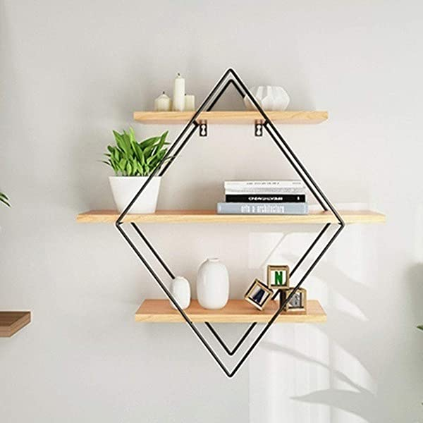 Blusea Iron Wood Floating Wall Shelves Rustic Decorative Storage Rack Industrial Style Craft Book Hanging Shelf For Bedroom Living Room Bathroom Kitchen Office Rhombus