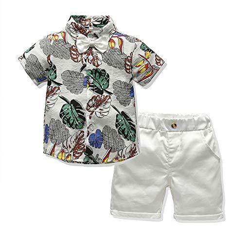I3CKIZCE Conjunto de ropa de 2 piezas para bebé y niño, de manga corta, estilo bohemio, con corbata + pantalones cortos rojos, para verano, para 1 – 5 años Blanco 12-18 Meses