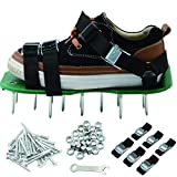 KleeTrend Lawn Aerator Shoes 26 Metal Buckles Spiked Sandals with Cross Strape Heel Heavy Duty for Aerating Your Garden Yard