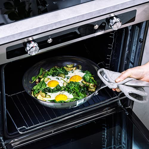 GreenChef Frying Pan, Non Stick Stainless Steel Ceramic Cookware - Induction & Oven Safe Cookware - 28 cm, Silver Second Image