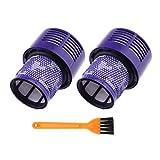 Juego de 2 filtros de repuesto para aspiradora Hepa 969082-01 con cepillo de limpieza lavable unidad de filtro para Dyson V10 SV12