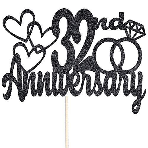Szczęśliwej 32-tej rocznicy brokatowy czubek na tort – na zamówienie rekwizyty do dekoracji na przyjęcie – dostępne w wielu kolorach