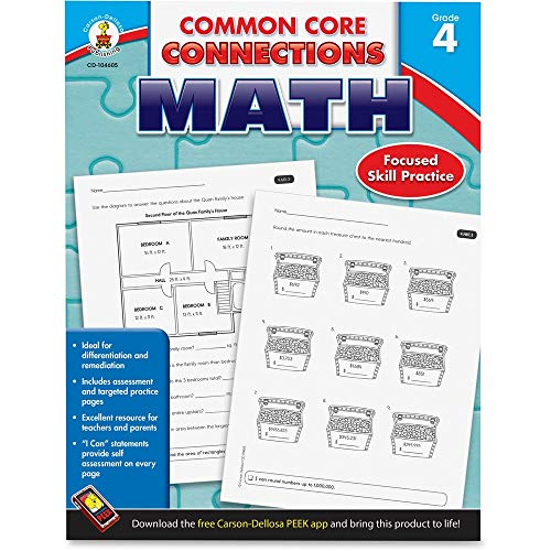 Carson-Dellosa Common Core Connections Math Workbook, Grade 4, Ages 9 -10, 96 Pages