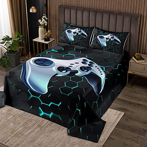 Juego de colcha para niños y adolescentes con diseño de videojuegos, juego moderno, juego de cama para decoración de dormitorio, control de jugador, geometría de nido de abeja