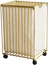 Room Service Cart Laundry Tool Cart Laundry basket Gold Clothes Storage Basket,Iron Dirty hamper for laundry room, bathroo...
