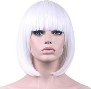 Short Bob Wigs White Wig for Women with Bangs Straight Synthetic Wig Natural As Real Hair 12''with Wig Cap BU027WH