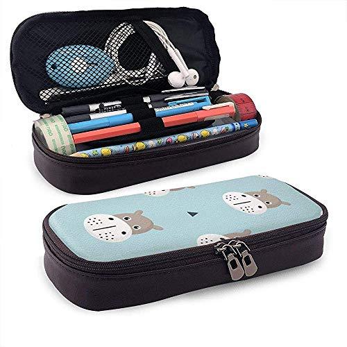 DJNGN Lindo bebé de dibujos animados hipopótamo de cuero estuche para lápices bolsa monedero bolígrafo bolsa estacionaria bolsa de maquillaje cosmético