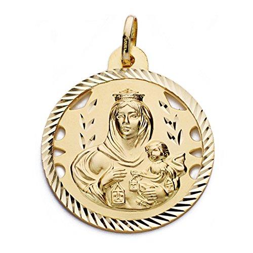Medalla Oro 18K Virgen Del Carmen 28mm. [Aa0562Gr] - Personalizable - Grabación Incluida En El Precio