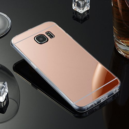 Etsue Funda Samsung Galaxy S7 Edge Espejo Funda Silicona Flexible Suave TPU Carcasas Elegante Bling Glitter Brillante Brillo Sparkle Espejo mirror Funda metal Purpurina Espejo Carcasa Galaxy S7 Edge