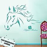 ilka parey wandtattoo-welt® Wandtattoo Pferd Pferdewandtattoo Wandtattoo Pferde mit Namen Kleeblatt M343B (weiß) ~ Größe: 60cm breit x 40cm hoch