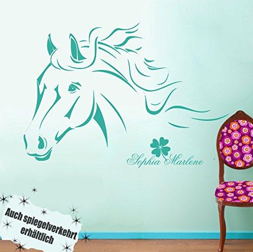 ilka parey wandtattoo-welt® Wandtattoo Pferd Pferdewandtattoo Wandtattoo Pferde mit Namen Kleeblatt M343B (Türkis) ~ Größe: 60cm breit x 40cm hoch