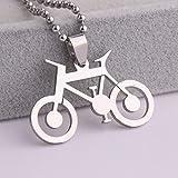 DYKJ Plata Hueca Bicicleta Bicicleta Acero Inoxidable Colgante Collares Cadena de Cuentas para Hombres Mujeres
