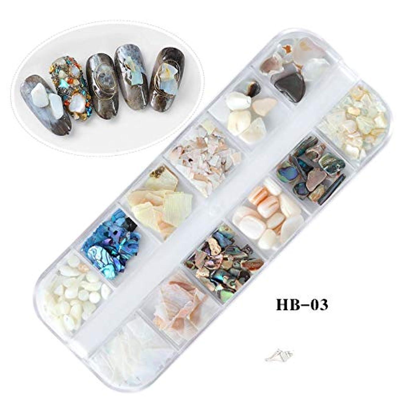 収穫土曜日絶望Kerwinner 天然貝殻3DチャームネイルアートデコレーションスライスDIYビューティーサロンオーシャンネイルアートパウダーマニキュアデカールツール (Color : HB03)