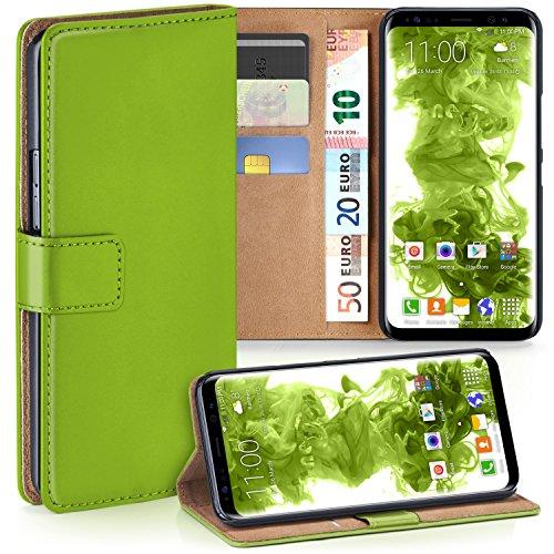 MoEx Premium Book-Case Handytasche kompatibel mit Samsung Galaxy S8   Handyhülle mit Kartenfach und Ständer - 360 Grad Schutz Handy Tasche, Grün