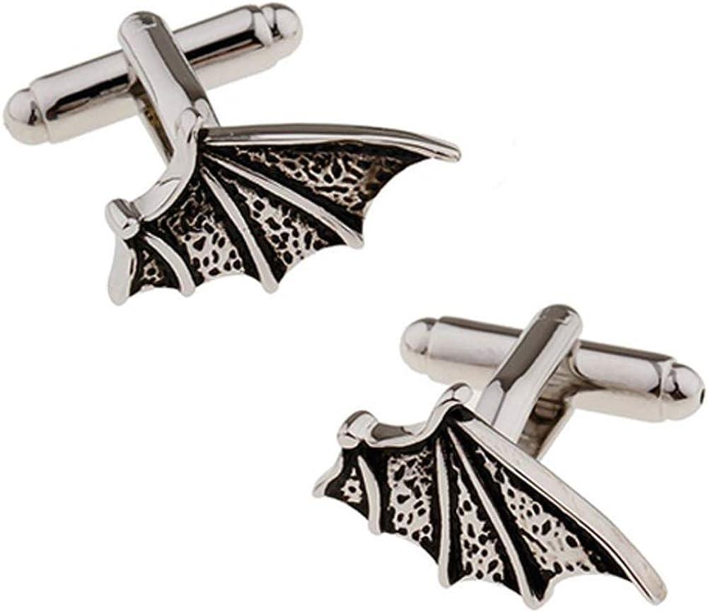 Williams and Clark Men's Executive Cufflinks Vampire Bat Wing Dracula Gunmetal Tone Halloween Flying Wing Cuff Links