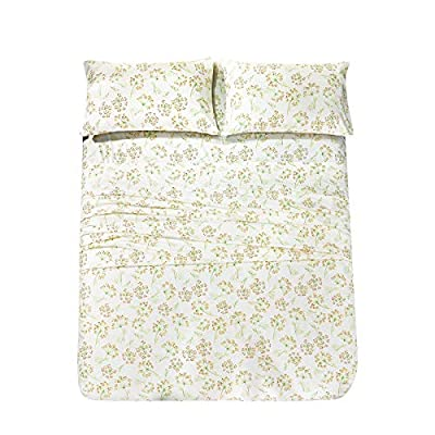 JSD Floral Printed Sheet Set Queen, 4 Piece Brushed Microfiber Sheets Extra Deep Pocket, Ultra Soft Hotel Quality Bedding Sheets