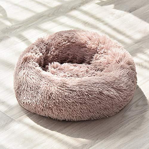 Ymlove Flauschiges Haustierbett Round Cuddler Plüsch Gemütliches selbstwärmendes Katzennest für Katzen Kleine Hunde Hochwertiger Schlaf (grau, groß)
