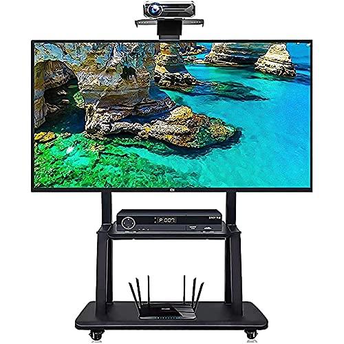 TabloKanvas Office/Home Mobile TELEVISOR Stand se Adapta al 43/50/55/60/70 Pulgada LCD LED Pantallas rodando TELEVISOR Carrito con 2 estantes y Ruedas. (Color : Black)