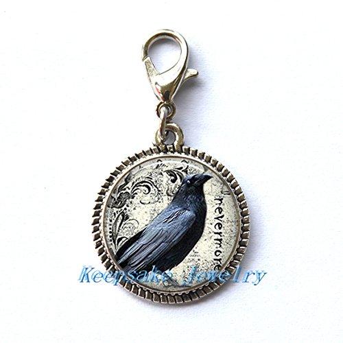 KeepsakeJewelry Poe's Raven - Tirador de Cremallera, Collares, Pulseras, llaveros y Pendientes
