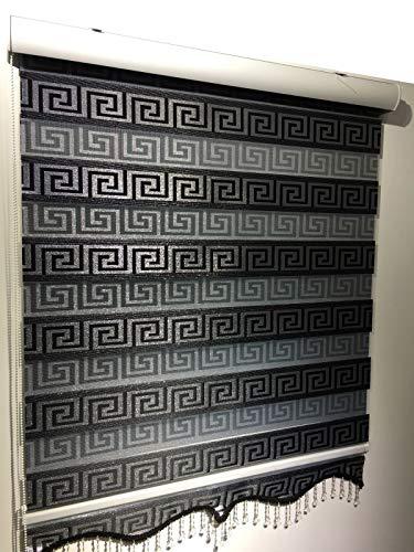 Duo-Rollo Doppelrollo Farbe Schwarz/Silber Versage Motiv Breite 120 cm Länge 200 cm mit breiter Beschwerung+ geschlossener Kassette+ Kettenzug Alternative zu Gardine oder Plissee (120)
