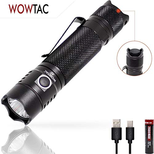 WOWTAC A7 Tactical Flashlight,USB Rechargeable...