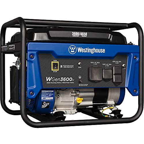 Westinghouse Outdoor Power Equipment WGen3600v Portable Generator 3600 Rated and 4650 Peak Watts, RV...