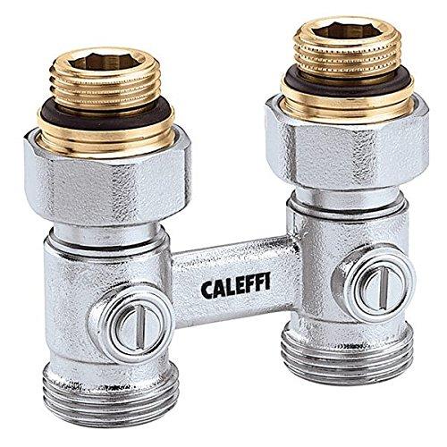 Caleffi Zweirohr Hahnblock 1/2 x 3/4 Zoll Durchgang Doppelkugelhahn Heizkörper Anschluß Heizung