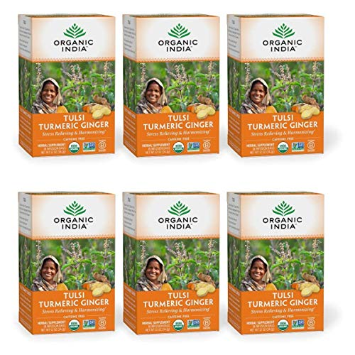 Organic India Tulsi Turmeric Ginger Herbal Tea - Stress Relieving & Harmonizing, Immune Support, Healthy Inflammatory Response, Aids Digestion, Vegan, Caffeine-Free - 18 Infusion Bags, 6 Pack