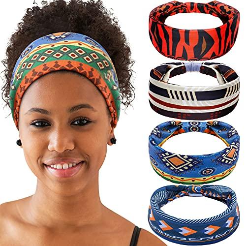 4 Stücke Afrikanisches Breites Stirnband Boho Stirnband für Frauen Afrikanische Stirnbänder Damen Stirnband Geknotete Elastische Haarbänder Kreuz Haarwickel Haarschmuck (Charmante Serie)