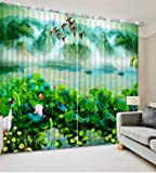 Cortinas 3D Personalizadas Great Wall Lotus Cortinas de Sala de Estar 3D Cortinas Opacas Cortinas estéreo 3D wide200cm high150cm