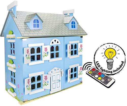 Leomark Dream House Casa de Muñecas de Madera con muñecas - Color Azul - Villa (60 cm - altura), Equipo Completo, Excelente Calidad, Accesorios adicionales + LED + control remoto