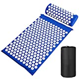 WangFenghua Mataje de Yoga Mataje de acupresión de Estera para Cuello Trasero Aguja Acupuntura Pad Almohada Conjunto Aplicador Spike Massager Cushion (Color : Blue Set)