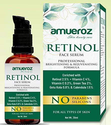 Amueroz Retinol Face Serum   Deep Wrinkle Repair Serum With Vitamin C Serum, Gotu kola, Calendula, Vitamin E & Green Tea Extract   Anti Acne, Anti Aging & Brightening Serum - 30ml
