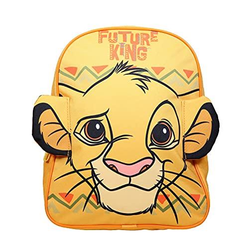 Sac à Dos goûter Maternelle 31 cm Le Roi Lion Disney avec Oreilles en 3D Jaune Bagtrotter