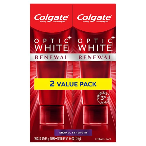Colgate Optic Renewal Teeth Whitening Toothpaste with Fluoride Hydrogen Peroxide Enamel Strength, White, Wintergreen, 6 Ounce