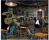 Apoart 3D Papier Peint Mur De Fond De Barre De Musique Cool Original Noir Guitare Électrique Cool200X140Cm(78.74By55.11In)